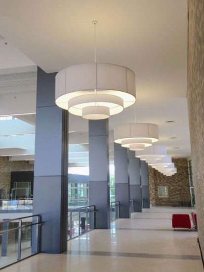 Custom fabric pendants for Dunbar High School, Washington DC