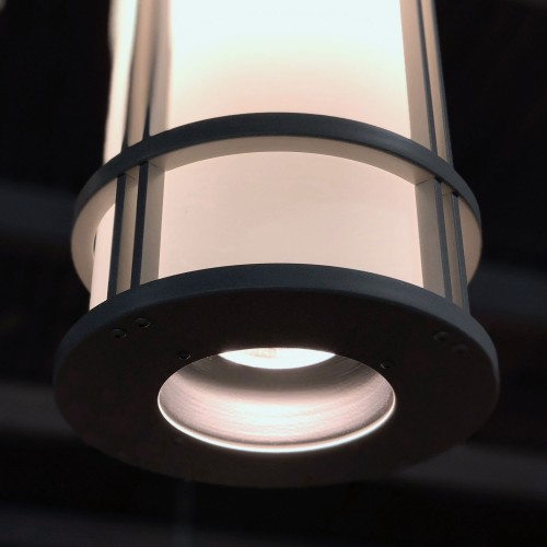 LED downlight option is recessed in bottom bezel to reduce glare.